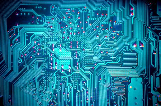 Free Stock Photo of blue computer circuit board