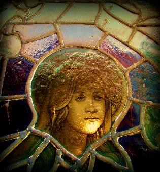 Free Stock Photo of Girl In The Stained Glass Window