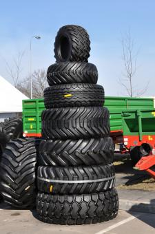 Free Stock Photo of Stack of tractor tyres