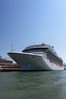 Free Stock Photo of Cruise ship in port - side view