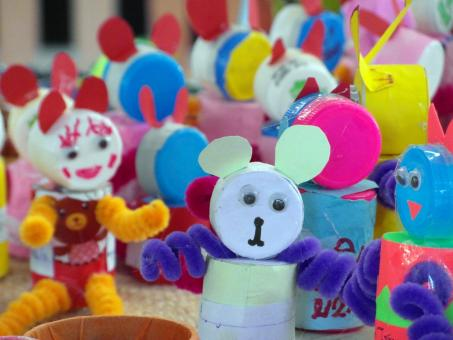 Free Stock Photo of Recycled Bottle Tops Craft Dolls