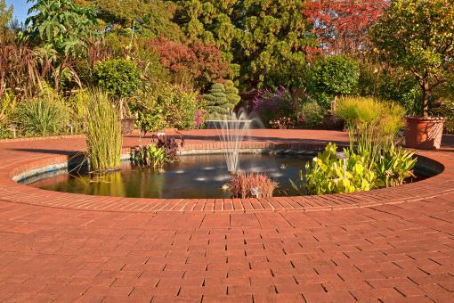 Free Stock Photo of Autumn Arboretum Fountain - HDR