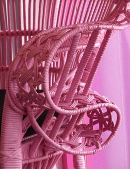 Free Stock Photo of Pink Wicker Chair
