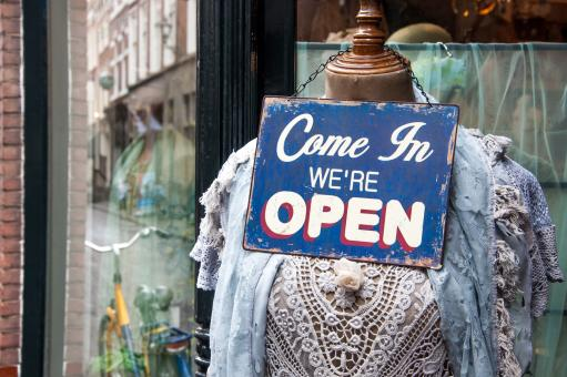 Free Stock Photo of Open sign shop window