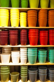 Free Stock Photo of Colorful pots in shop