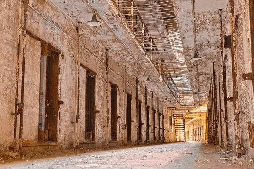 Free Stock Photo of Glowing Prison Corridor - HDR