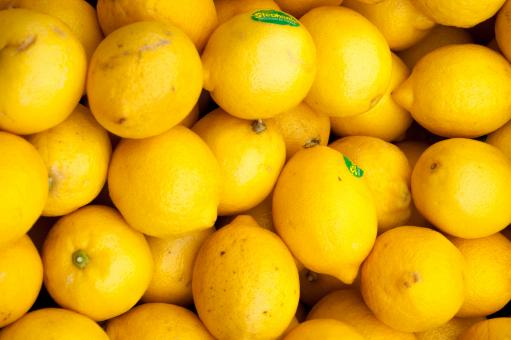 Free Stock Photo of Colorful Display Of Lemons In Market