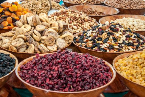 Free Stock Photo of Dry fruits and nuts at market