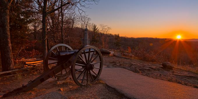 Free Stock Photo of Gettysburg Sunset Cannon - HDR