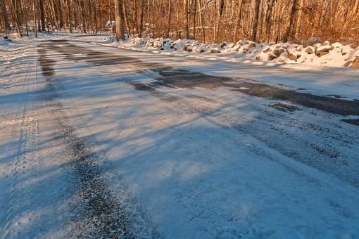 Free Stock Photo of Winding Winter Road - HDR