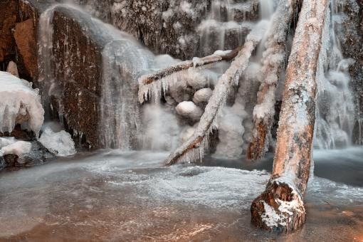 Free Stock Photo of Frozen Avalon Falls - HDR