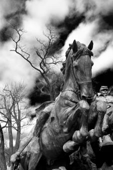 Free Stock Photo of Grant Cavalry Statue - Black & White