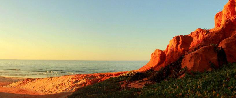 Free Stock Photo of Bright sandstone coastal cliffs
