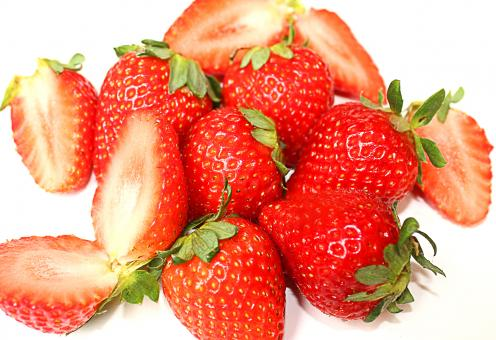 Free Stock Photo of Close-up of red sweet strawberry fruits