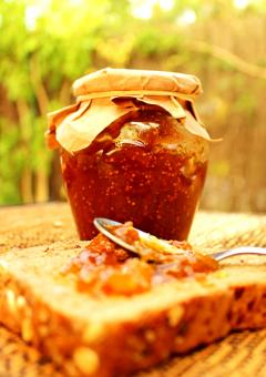 Free Stock Photo of Fig jam on whole bread