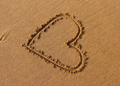 Free Stock Photo of Heart drawn in the sand
