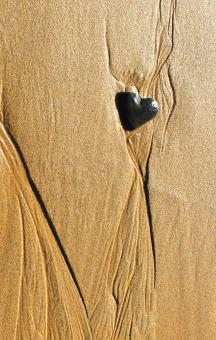 Free Stock Photo of Heart-shaped pebble in the sand