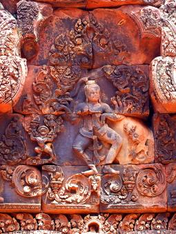 Free Stock Photo of Pink stone carvings of Banteay Srei