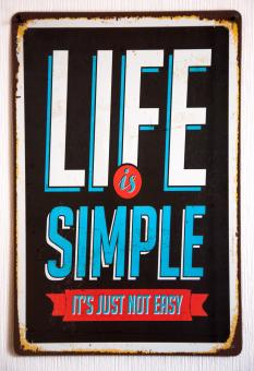 Free Stock Photo of Vintage Metal Sign Life is simple