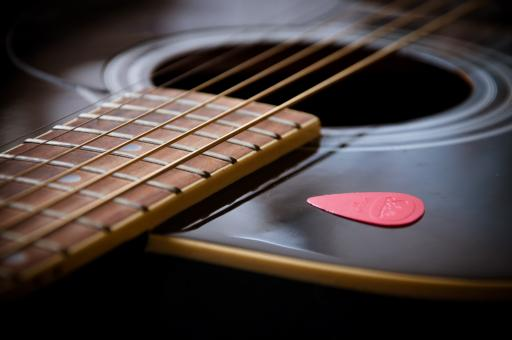 Free Stock Photo of Guitar close up with pick
