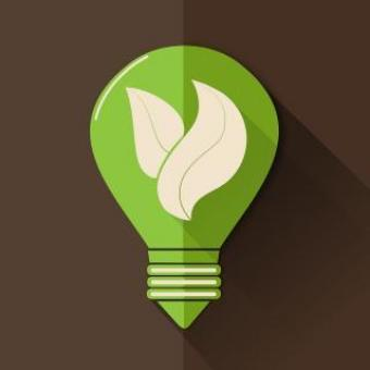 Free Stock Photo of Green Lightbulb with Leaves