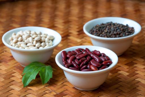Free Stock Photo of Red beans, white beans and lentils