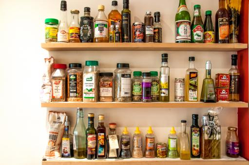 Free Stock Photo of Herbs and oil bottles in kitchen
