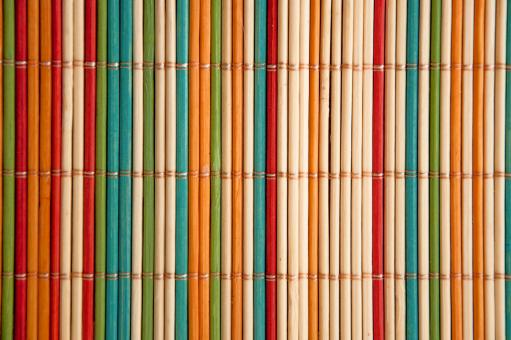 Free Stock Photo of Coloured bamboo mat