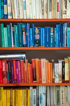 Free Stock Photo of Books in shelf in library