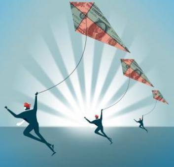 Free Stock Photo of Forex traders with Dollar Kites