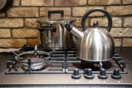 Free Stock Photo of Pots on kitchen stove