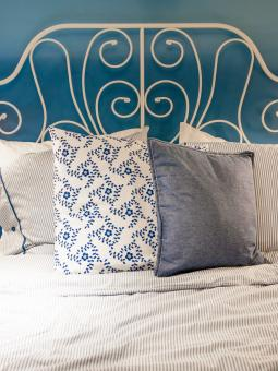 Free Stock Photo of bed with blue linen in the bedroom