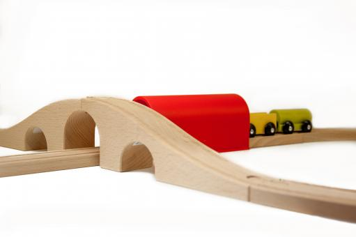 Free Stock Photo of Wooden toy train on railroad