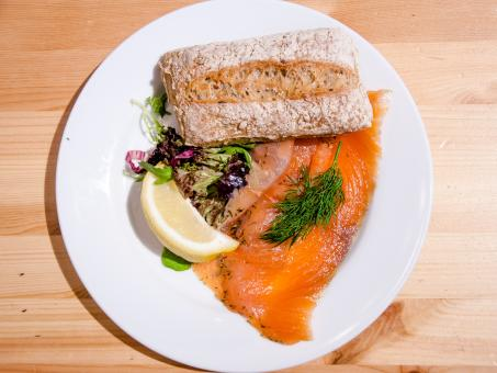Free Stock Photo of Salmon on a bread