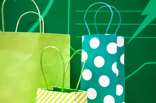 Free Stock Photo of gift bags green