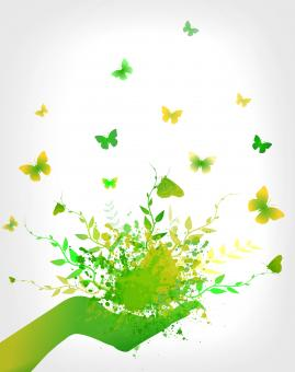 Free Stock Photo of Green Concept - Splashes and Butterflies