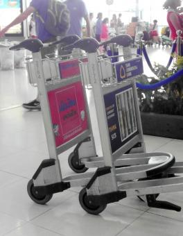 Free Stock Photo of Airport Luggage Trolleys