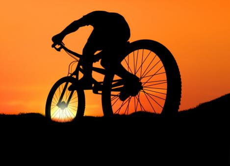 Free Stock Photo of Biking into the Sunset