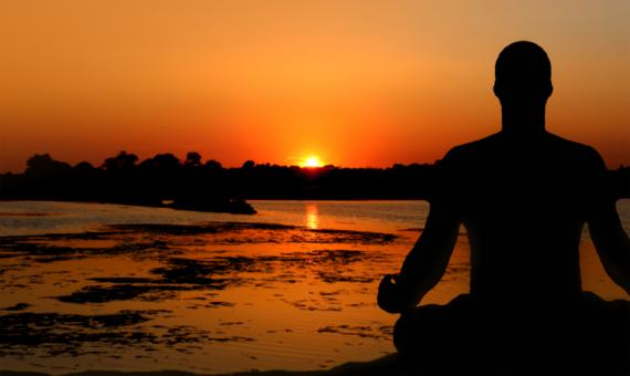 Free Stock Photo of Meditation at Sunset