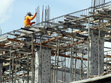 Free Stock Photo of Construction Worker High Up