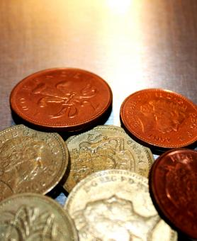 Free Stock Photo of British pound coins closeup