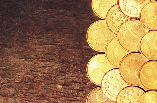 Free Stock Photo of Euro coins on old wooden background