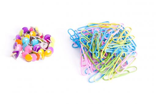 Free Stock Photo of Tacks and paper clips