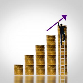 Free Stock Photo of Man climbing coin stack - Money growth