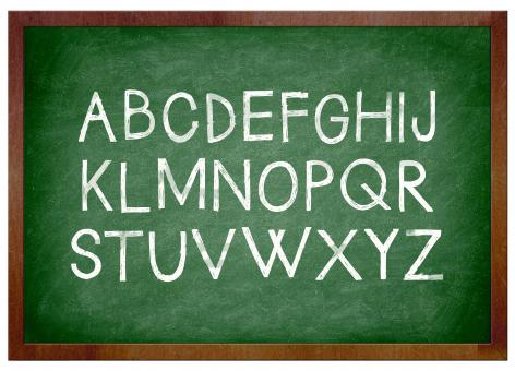 Free Stock Photo of Alphabet chalk on school chalkboard