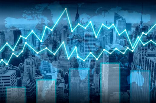 Free Stock Photo of Finance graph superimposed on Manhattan