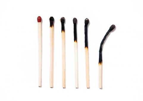Free Stock Photo of Set of burnt matches isolated on white
