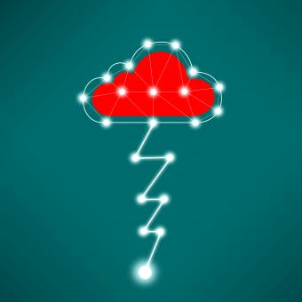Free Stock Photo of Digital Cloud Concept with Lightning