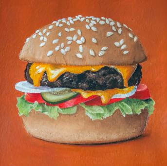 Free Stock Photo of Hamburger painting illustration