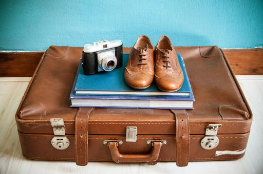Free Stock Photo of Vintage still life with suitcase